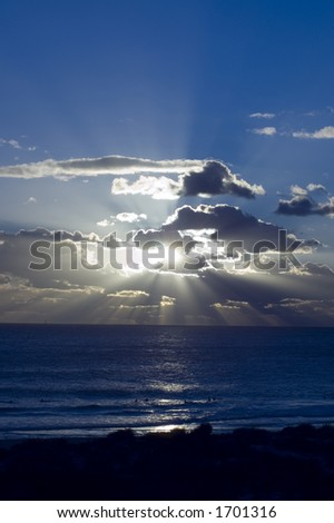 Sunset on the beach at Subiaco Beach , Perth - stock photo