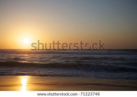 Sunset on the beach in Saint Louis - Senegal - stock photo