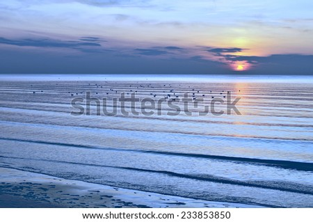 Sunset on the beach, Jurmala, Latvia, Baltic sea - stock photo