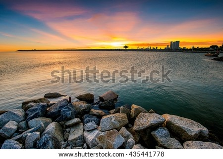Sunset on the Beach, Nature Landscape - stock photo