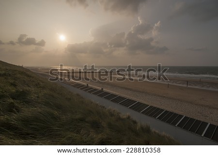 Sunset on the beach of Domburg, Zeland, Netherlands - stock photo