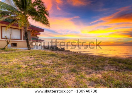 Sunset on the beach of Koh Kho Khao island in Thailand - stock photo
