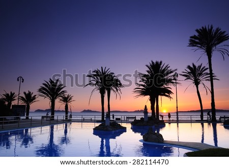 Sunset on the beach of Samil in Vigo, Spain. - stock photo