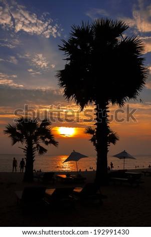 sunset on the beach, Pattaya  Thailand - stock photo