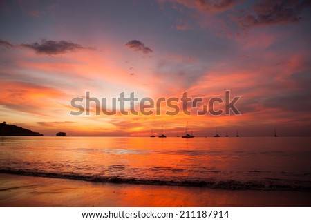 sunset on the beach southern of Thailand - stock photo