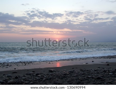 Sunset on the Black Sea in Abkhazia - stock photo
