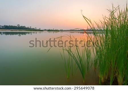 Sunset on the calm lake