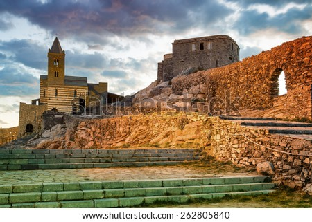 sunset on the church of San Pietro in Portovenere, La Spezia, Italy - stock photo