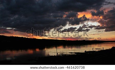 Sunset on the Dniester river
