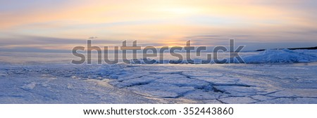 Sunset on the Gulf of Finland, St. Petersburg, Russia. - stock photo