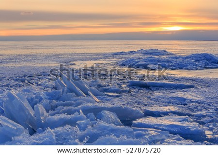 Sunset on the Gulf of Finland, St. Petersburg, Russia