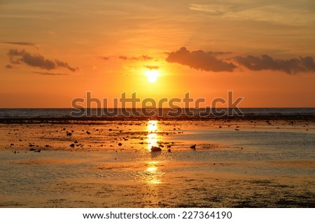 Sunset on the island of Gili Trawangan, Indonesia