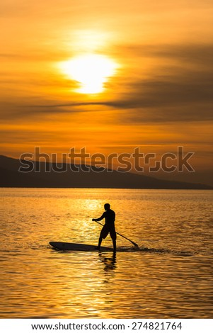 Sunset on the Lake  at Vevey, Switzerland - stock photo