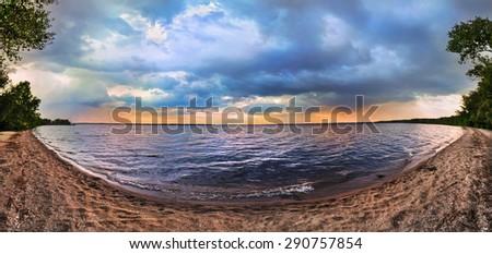 Sunset on the lake in Ukraine. Panorama - stock photo