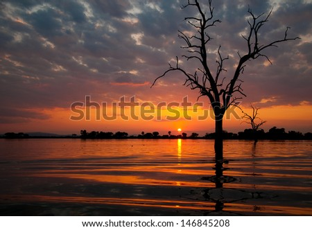 sunset on the lake manze in tanzania - national park selous game reserve - stock photo