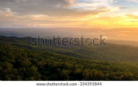 Sunset on the mountain - stock photo