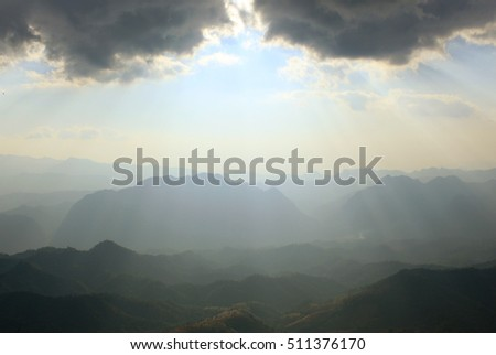 Sunset on the mountain,Doi Phuwae ,Nan, Thailand