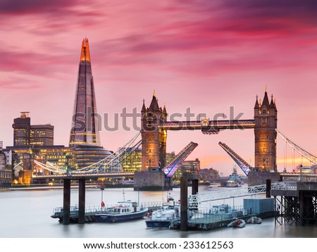 Sunset on the new London skyline with Tower Bridge and the new The Shard skyscraper. Long exposure. Shot in 2014