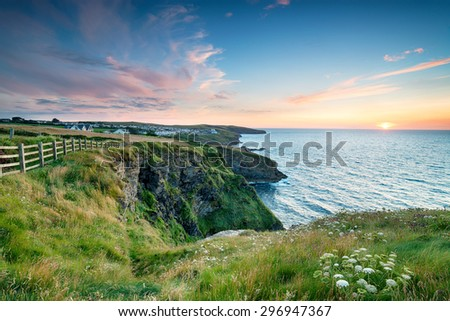 Sunset on the north Cornwall coast looking out to Port Gaverne and Port Isaac