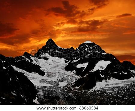 sunset on the Ober Gabelhorn - stock photo