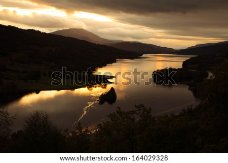 Sunset on the Queen's way around Pitlochry, Scotland, UK - stock photo