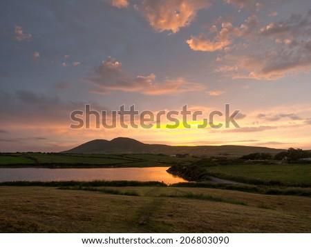 Sunset on the ring of Kerry,ireland - stock photo