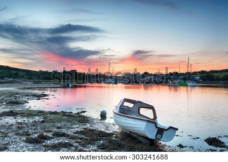 Sunset on the river Tamar at Millbrook in Cornwall - stock photo