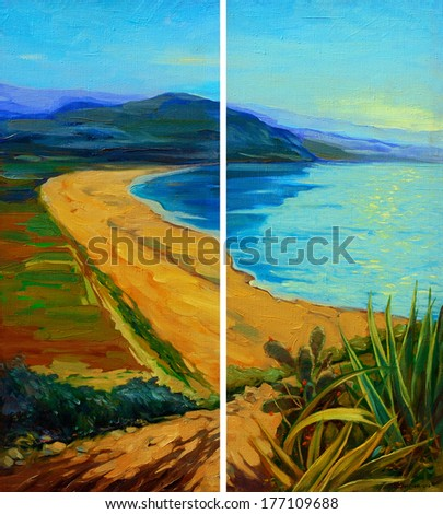 sunset on the sea, painting by oil on canvas,  illustration - stock photo