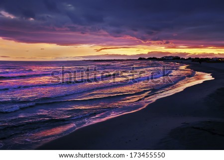 Sunset on the sea. Seascape.