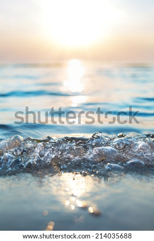 sunset on the sea shore in shallow depth of field - stock photo