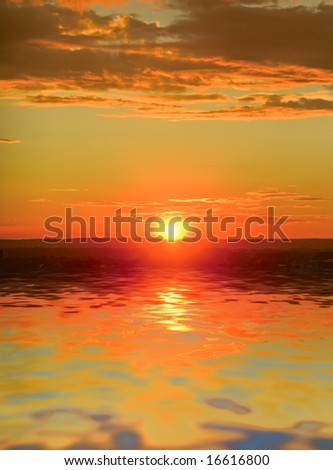 sunset on the shore of the sea