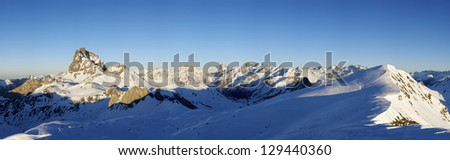 sunset on the South slope of the peak Midi d'Ossau, 2884 meters, Ossau Valley, Pyrenees, Francez - stock photo