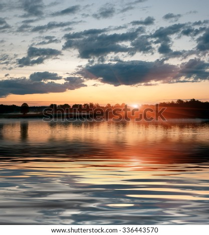Sunset on the Volga river in Central Russia - stock photo