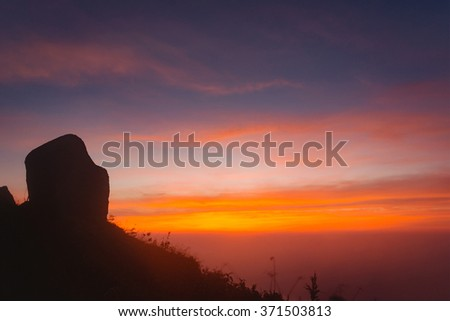 Sunset on top of mountains ,Mae Wong National Park, Nakhon Sawan, Thailand