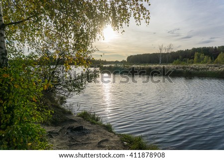 Sunset on Torfyank's lake in Korolev, Russia