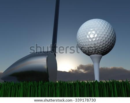 Sunset or Sunrise Golf - stock photo