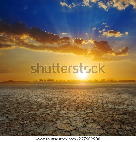 sunset over a dry land