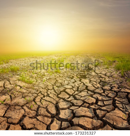 sunset over a dry lands