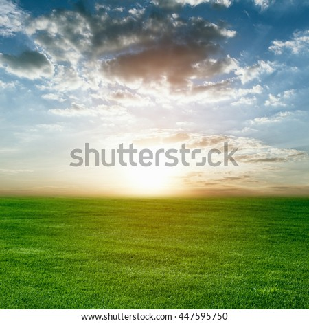 sunset over a green field - stock photo