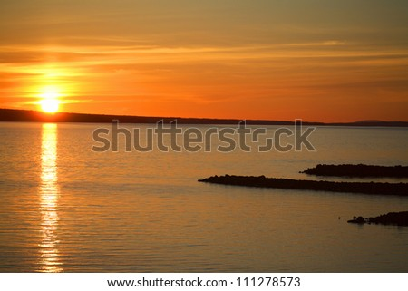 Sunset over a lake in Sweden