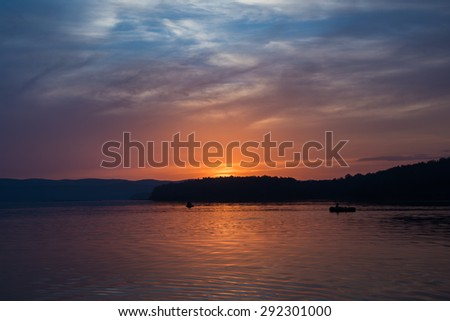 Sunset over a lake Russia