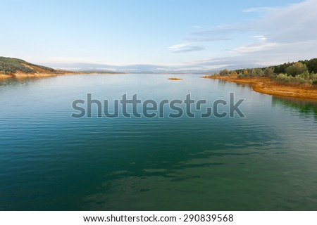 Sunset over a Mountain Lake in Spain - stock photo