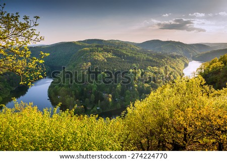 Sunset over a river meander in central Bohemia, near Prague, Czech Republic - stock photo