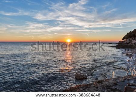 Sunset over Adriatic Sea in Istria, Croatia - stock photo