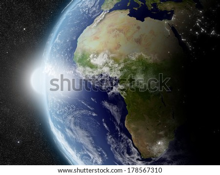 Sunset over Africa region on planet Earth viewed from space with Sun and stars in the background. Elements of this image furnished by NASA.