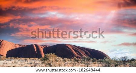 Sunset over Australian Desert Rocks. - stock photo