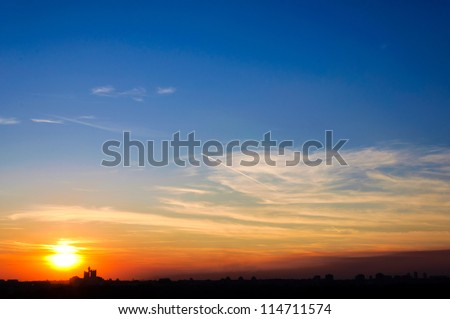 Sunset over Belgrade city - stock photo