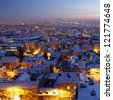 Sunset over Belgrade Covered by Snow - stock photo