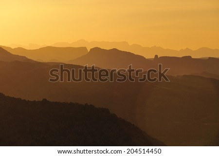 Sunset over Big Bend National Park, Texas, United States. - stock photo