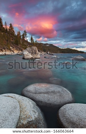 Sunset over Bonsai Rock on the Eastern Shores of Lake Tahoe, Nevada.  - stock photo